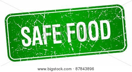 Safe Food Green Square Grunge Textured Isolated Stamp