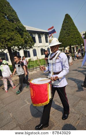 Kings Guards Are Marching In Grand Royal Palace In Bangkok