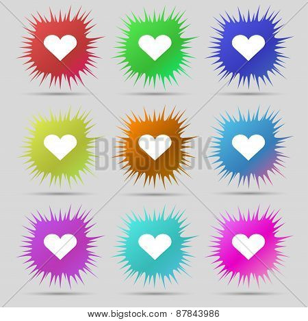 Heart, Love Icon Sign. A Set Of Nine Original Needle Buttons. Vector
