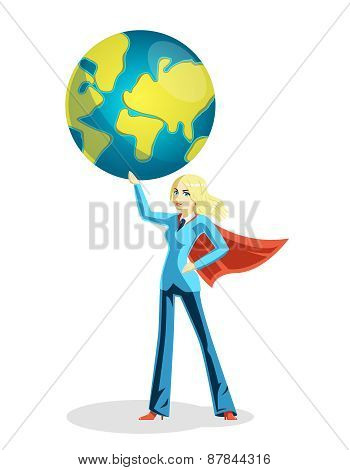 Business woman holding world globe