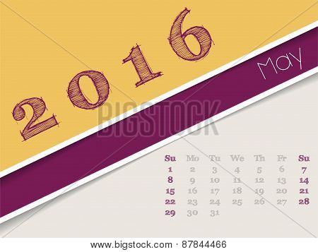 Simplistic May 2016 Calendar Design