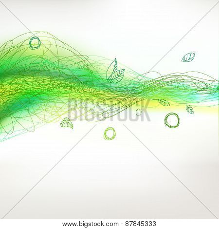 Season Green Drawing Linear Waves