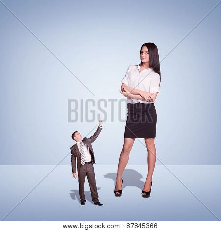 Lagre Young Businesswoman and small Businessman