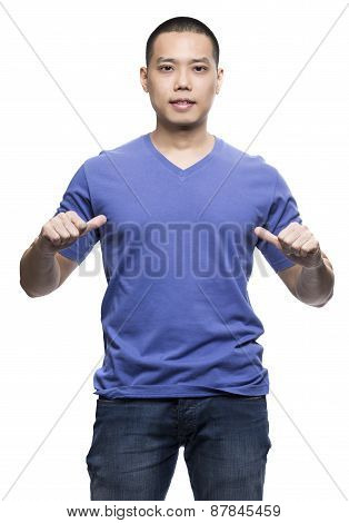 Blue T-shirt On A Young Man Isolated On The White Background-studio Shot Ready For Your Own Graphic.