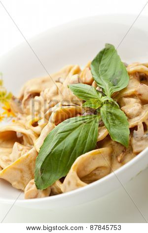 Pasta with Mushrooms and Parmesan Cheese. Garnished with Basil Leaf
