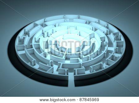 Dark round maze with an illuminated center