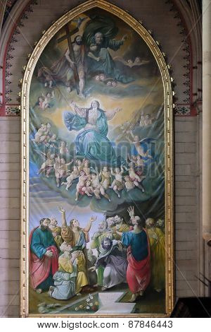 ZAGREB, CROATIA - NOVEMBER 29, 2015: Assumption of the Blessed Virgin Mary, altarpiece in Zagreb cathedral dedicated to the Assumption of Mary and to kings Saint Stephen and Saint Ladislaus in Zagreb