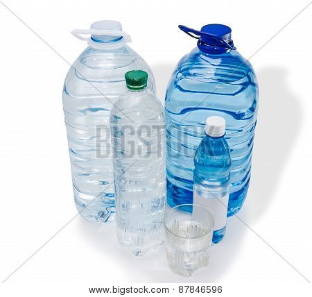 Several Bottles And Glassful Of Water