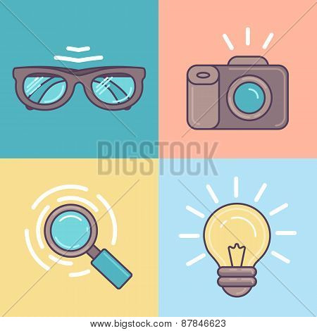 Vector Linear Set Of Graphic Designer Tools Icons