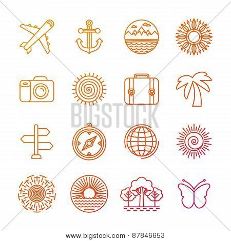Vector Set Of Linear Icons Related To Summer