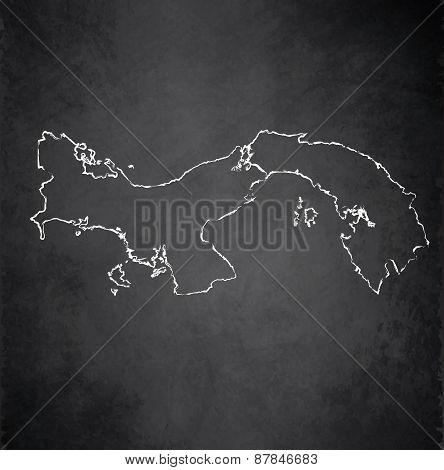 Panama map blackboard chalkboard raster