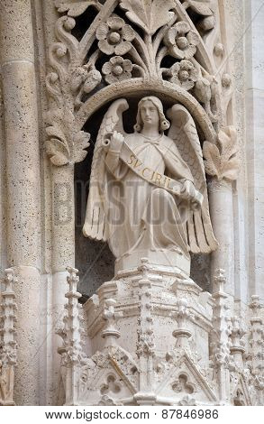 ZAGREB, CROATIA - APRIL 04: Statue of Angel on the portal of the cathedral dedicated to the Assumption of Mary and to kings Saint Stephen and Saint Ladislaus in Zagreb on April 04, 2015