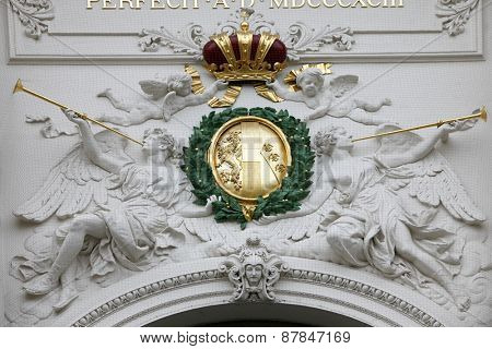 VIENNA, AUSTRIA - DECEMBER 10: Emperors crown Symbol at Hofburg, Vienna, Austria on December 10, 2011.