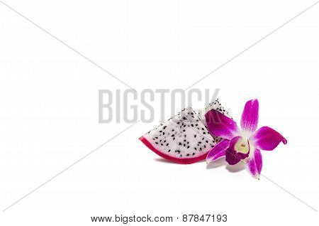 Dragon Fruit And Orchid Isolated On White Background.