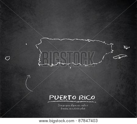 Puerto Rico map blackboard chalkboard vector