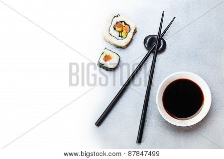 Two Roll, Soy Sauce And Chopsticks