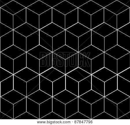 Geometric seamless simple monochrome minimalistic pattern of cube shapes