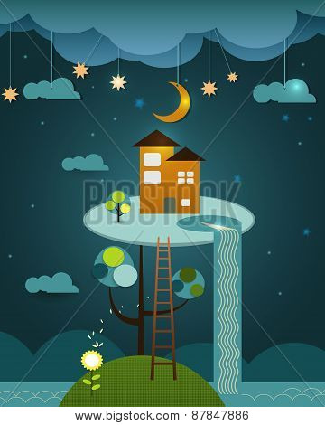 Illustration Vector , House On Peaceful Landscape,night Sky Background