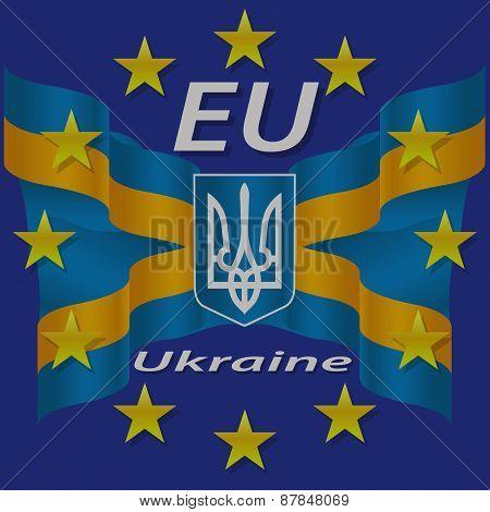 Ukrainian And European Flag.