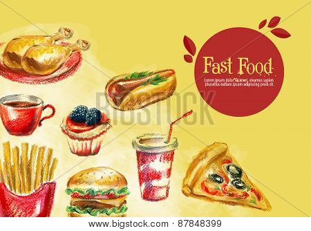 fast food vector logo design template. burger, fries or grilled chicken, drink, hot dog icon.