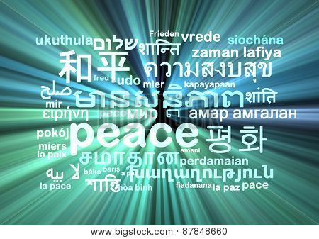 Background concept wordcloud multilanguage international many language illustration of peace glowing light