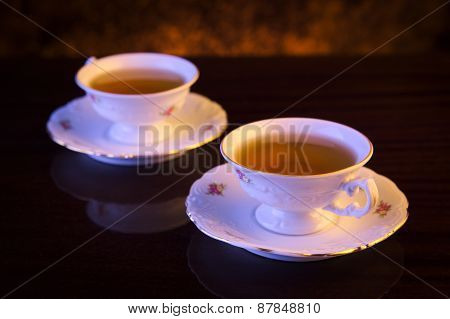 Old-style Image With Two Cups Of Tea