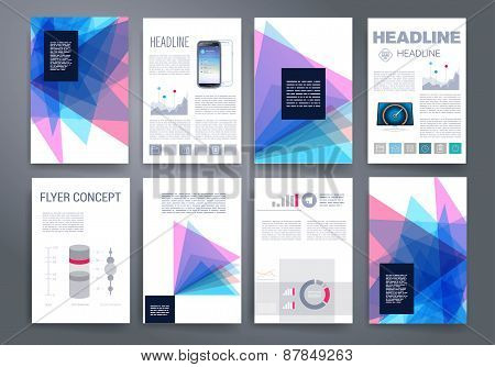 Template. Vector brochure design templates collection. Applications and Infographic Concept. Set of