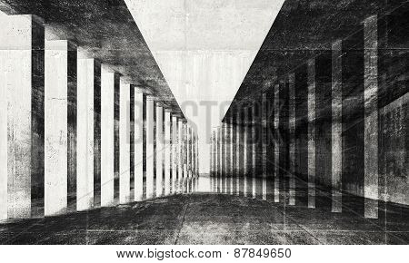 Tunnel Background, 3D Illustration With Concrete Texture