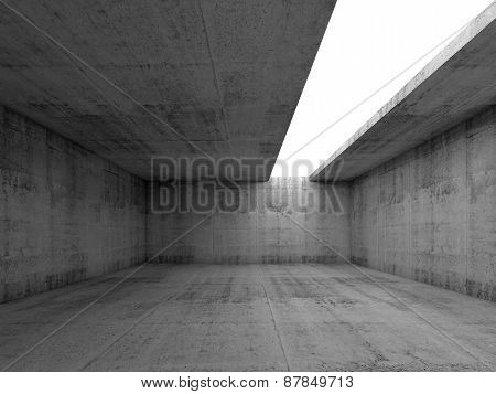 3D Empty Concrete Interior With White Asymmetric Opening