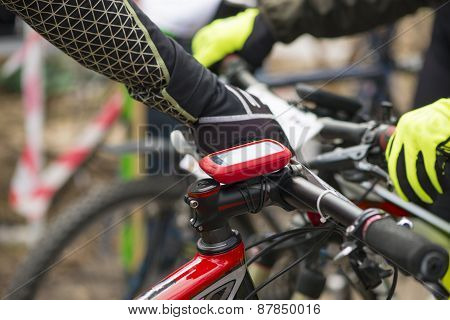 Modern Electronic Gps Device Attached To Bicycle Handlebar