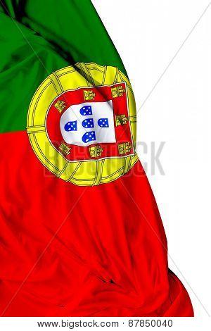 Portuguese waving flag on white background