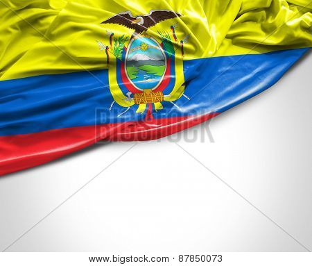 Ecuadorian waving flag on white background