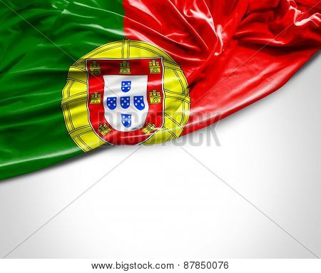 Portuguese waving flag on white background