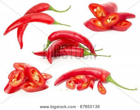 Collection Of Red Chilli Peppers Isolated On The White Background
