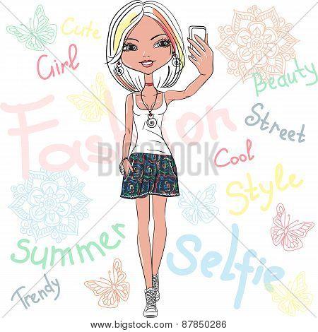Vector cute girl makes selfie