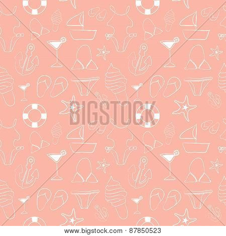 Funny Seamless Pattern With Sketch Summer Elements