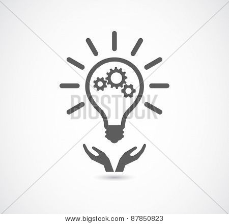 hand support light bulb gear cogs wheel teamwork