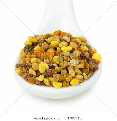Bee Pollen In Spoon Isolated On The White Background