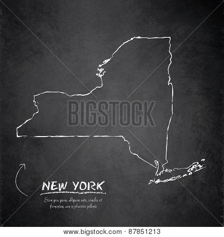 New York map blackboard chalkboard vector