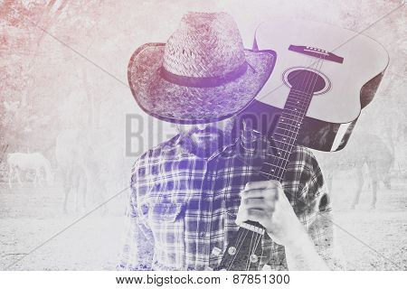 Cowboy Farmer With Guitar And Straw Hat On Horse Ranch