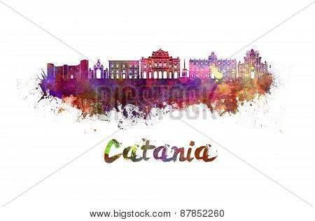 Catania Skyline In Watercolor