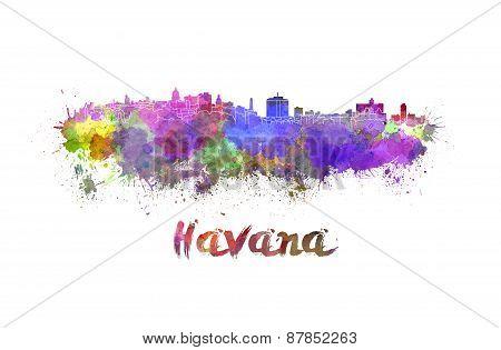 Havana Skyline In Watercolor