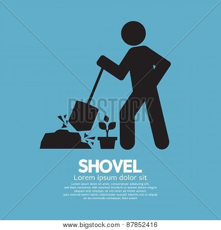 Shovel And Gardener Symbol.