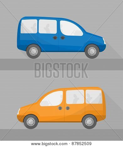 isolated mini wagon cars in flat style
