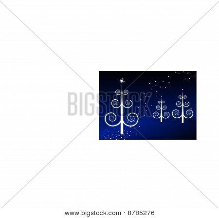 Christmas trees on starry night