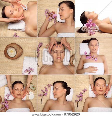Beautiful Girl Is Being Spa Collage