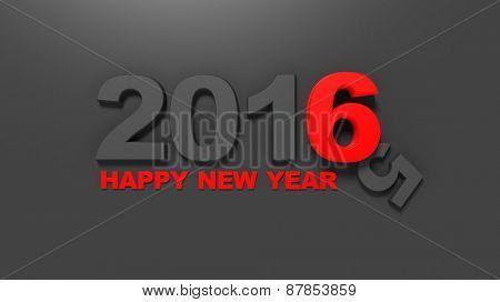 3d number 2016 on black background