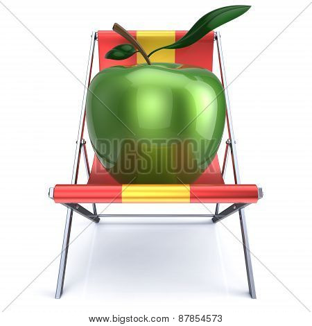 Apple Sitting In Beach Chair Vegetarian Nutrition Diet