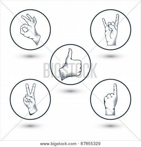 Hands gesture vector illustration.