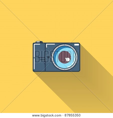 Photo camera flat icon with long shadow.